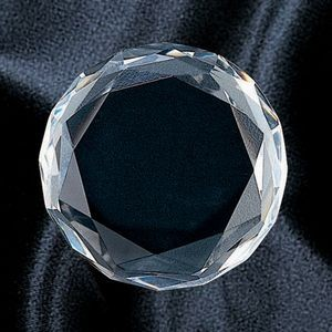 Crystal Awards / Crystal Beveled Round Paperweight