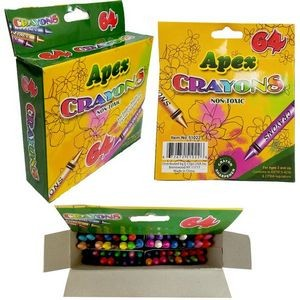Apex Crayon 64ct - Assorted Colors (Case of 48)